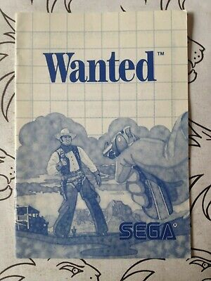 Wanted - Sega Master System ***Instruction Booklet Only*** - Vgc