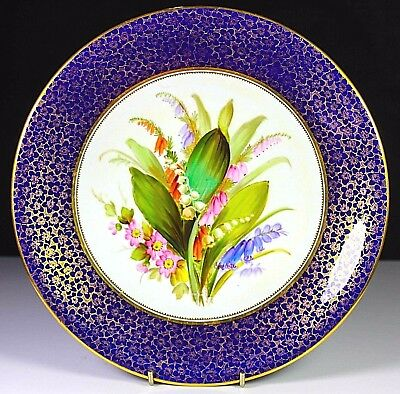 ANTIQUE ROYAL WORCESTER HAND PAINTED FLOWER GROUP PLATE c1878