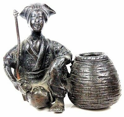 ANTIQUE SPELTER BRONZE INDIAN COBRA SNAKE CHARMER STREET SELLER FIGURE c1900