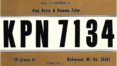 Vintage QSL Postcard KPN 7134 Richwood, West Virginia Red Betty Bamma Tyler -T-