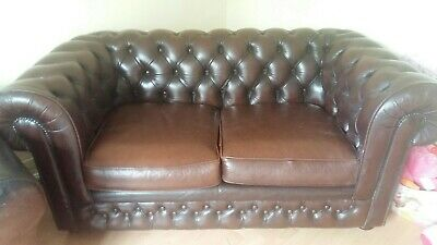 THOMAS LLOYD Chesterfield vintage Brown Leather Low Button Back 2-Seater Sofa