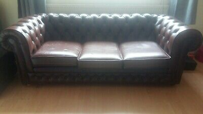 THOMAS LLOYD Chesterfield vintage Brown Leather Low Button Back 3-Seater Sofa