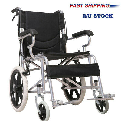 16 INCH FOLDING WHEELCHAIR Lightweight & Solid Mobility Aid Transport Travel AU