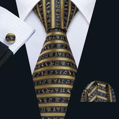 UK Mens Ties Silk Gold Black Striped Tie Vintage Necktie Set Wedding Barry Wang