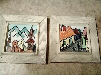 HARRIS G. STRONG MID CENTURY MODERN PAIR of HAND-PAINTED CERAMIC TILE