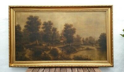 Large Old Antique Early 19th Century 1800's Oil Painting-Figures in Landscape