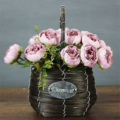 Ornament Vase Peony Bouquet Silk Rose Party Decoration  Artificial Flowers