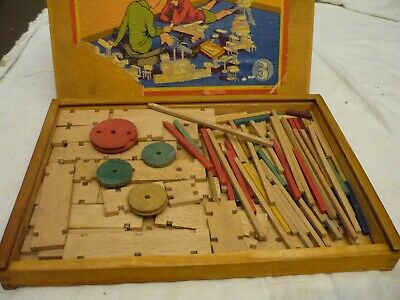 "VINTAGE years '40-'50 ""Modell Holzbaukasten""by BERBIS,wooden construction kit,"