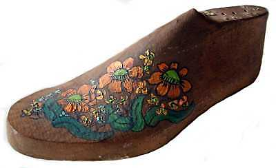 Wooden Shoe Last Americana Folk Art Hand Painted Antique Original Vintage Piece