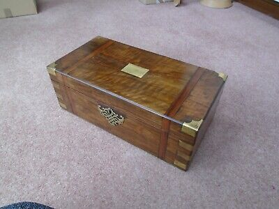 Large Antique Vintage Writing Slope With Key & 3 Hidden Drawers Rosewood Box
