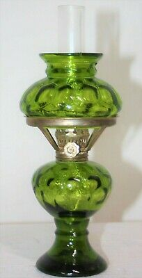 Antique Mini Victorian Pressed Stained Glass Turtle Back Parlor Gwtw Oil Lamp.
