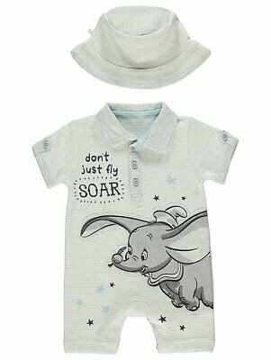 Disney Dumbo Light Grey Striped Romper and Hat Baby Boys BNWT