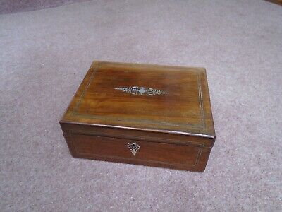 Antique  Mahogany Desk Top Writing Slope  Storage Box Mother Of Pearl Inlay