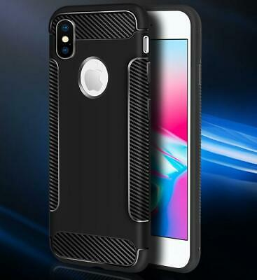 For Apple iPhone X XR XS Max 8 7 6 Plus ShockProof Carbon Fibre Back Case Cover