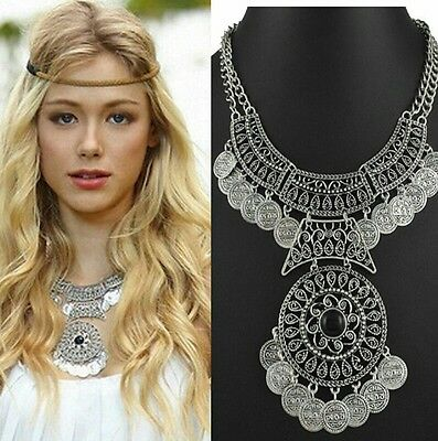GIFT Boho Ethnic Turkish Coin Necklace Free Gypsy People Coachella Women Jewelry