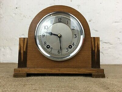 Stunning Art Deco Garrard Oak Mantle Clock With Key & Pendulum