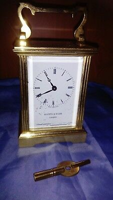 A Stunning Solid Brass Carriage Clock By Mappin & Webb