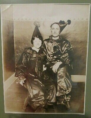 Vintage 1920's or 30's Man & Woman Clown Jester Costumes Sepia Photo 6x8