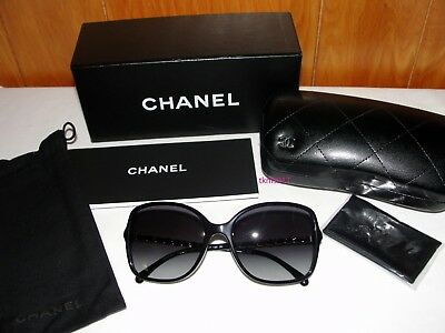 d43f6b0f61 NEW AUTH CHANEL 5210-Q Black Leather Gold Chain Arms Sunglasses ...