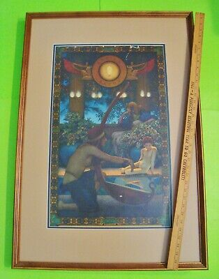 "ORIG'L Large MAXFIELD PARRISH EDISON MAZDA LAMP ""EGYPT"" POSTER 25"" X 36"" FRAMED"