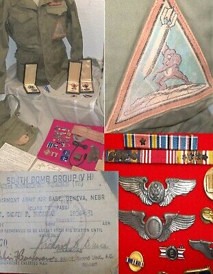 World War Two WWII JACKET PATCHES MEDALS RELICS Documents, WHOLE SET, NO RESERVE