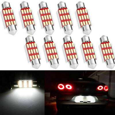 10 X 36mm 4014 12 SMD C5W LED Light Canbus Festoon Dome Car License Plate Lamps