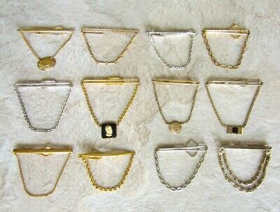 Lot of 12 Vintage Tie Bar Clips with Chains * Retro * Several Styles * Nice
