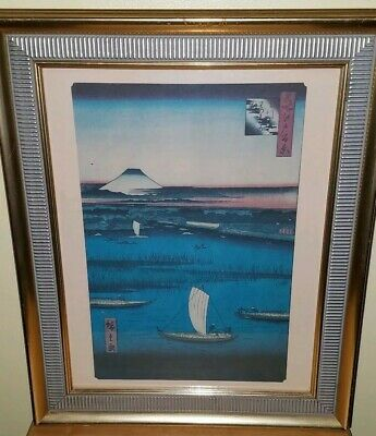 Antique Japanese Woodblock Print Mt. Fuji Seaside Fisher Men Framed behind glass