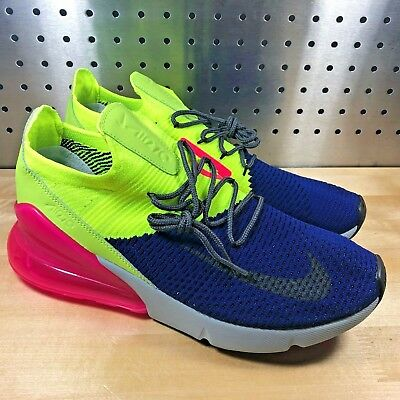New Nike Air Max 270 Flyknit Regency Purple Grey Volt AO1023-501 Men's Size 12