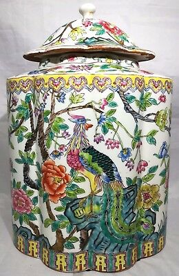 Chinese Antique Famille Rose Porcelain Jar With Flowers And Peacock Marked