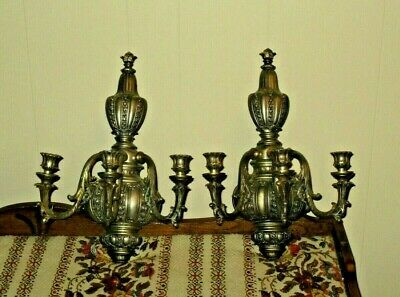 "Antique CAST BRASS WALL CANDELABRAS (2)  16 1/2"" x 11""  BEAUTIFUL CONDITION!"