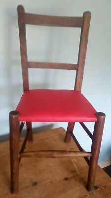 A Vintage Childs Infant Wooden School Chair with Red Vinyl