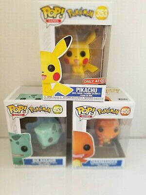 Funko Pop Pokemon Collection Bulbasaur, Pikachu and Charmander 3 Vinyl Figure