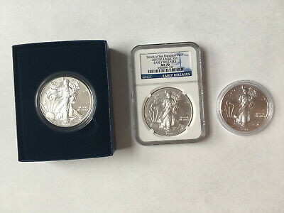 Lot of 3, 2011,12, 14 American silver eagle 1oz BU uncirculated coins