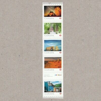 GUTTER-1 = Strip of 5 coil stamps = FROM FAR AND WIDE = Canada 2018 #3066ii