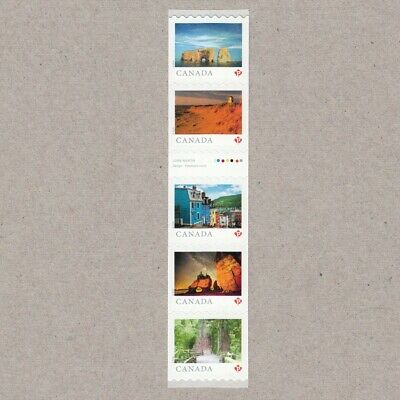 GUTTER-3 strip of 5 coil stamps = FROM FAR AND WIDE = Canada 2018 #3066ii MNH VF