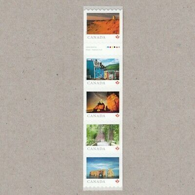 GUTTER-4 strip of 5 coil stamps = FROM FAR AND WIDE= Canada 2018 MNH VF