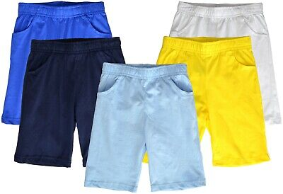 Boys Cotton Shorts Plain Coloured GOOD QUALITY Ages 3-14 Years Elastic Waist
