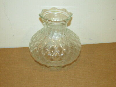 "Vintage Clear Glass Diamond Drop In Shade Student or Table Lamp 3"" Fitter VFC"