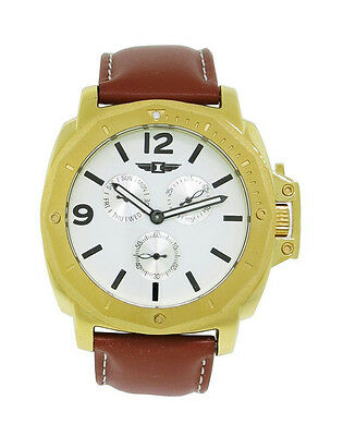I by Invicta IBI41703-003 Men's Round Analog Day Date White Camel Watch