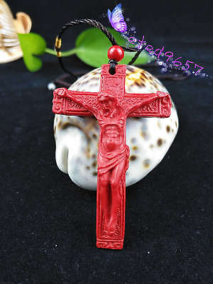 Old China Natural Red Organic Cinnabar Cross Necklace Pendant Lucky Amulet Hot