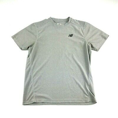 59d2fd4fea247 NB New Balance Lightning Dry Mens Gray Striped Athletic Compression Shirt S