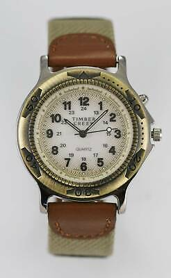 Timber Creek Watch Mens Light 24hr Stainless Silver Gold Brown Leather Quartz