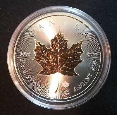 2015 Canadian Silver Maple Leaf BU Guilded Coin .9999 Fine $5