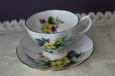 Royal Albert Tea Cup And Saucer Purple And Yellow Floral Bouquet