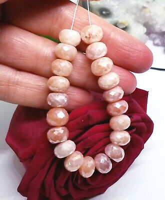 20 PINK TAN AUSTRALIAN MOONSTONE FACETED RONDELLE BEADS 80cts 9mm AAA FLASH