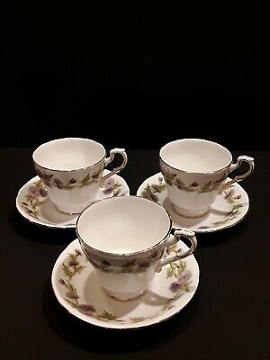 Paragon Highland Queen Bone China England Cups & Saucers Lot Of 3 Sets