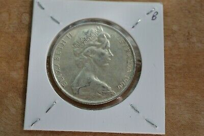1966 Australian Round 50 Cent Coin - 80% Silver Round Fifty Cent. B