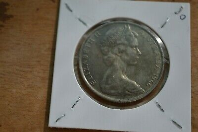 1966 Australian Round 50 Cent Coin - 80% Silver Round Fifty Cent.d