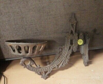 Antique Cast Iron Wall Mount Ornate Gas Oil Electric Light Lamp Fixture Swing